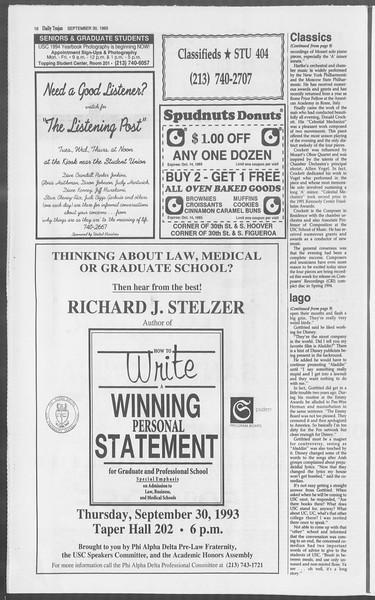 Daily Trojan, Vol. 121, No. 22, September 30, 1993