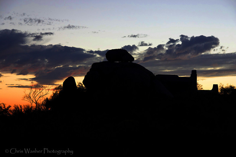 Sunset over boulders, Arizona.