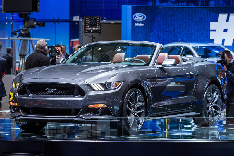. The 2015 Ford Mustang GT Convertible is presented at the Geneva Motor Show in Geneva, Switzerland, on March 4, 2014. AFP PHOTO / PIERRE ALBOUYPIERRE ALBOUY/AFP/Getty Images