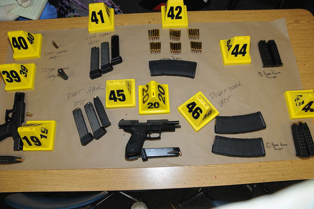. In this handout crime scene evidence photo provided by the Connecticut State Police, shows firearms and ammunition found on or in close proximity to shooters body at Sandy Hook Elementary School following the December 14, 2012 shooting rampage, taken on an unspecified date in Newtown, Connecticut.   (Photo by Connecticut State Police via Getty Images)