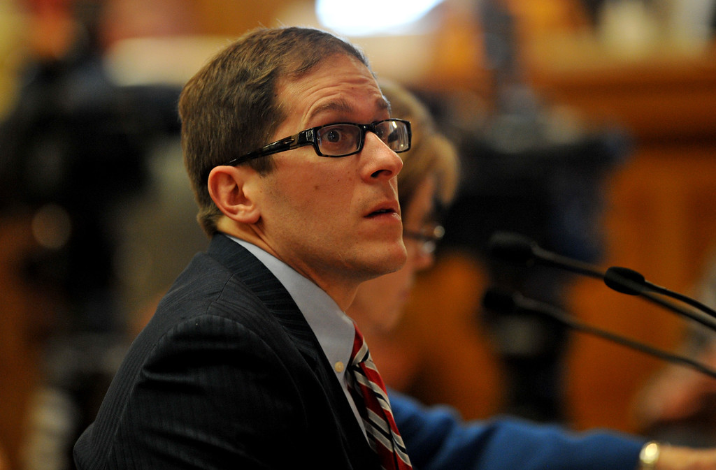 . DENVER, CO. - FEBRUARY 28: House Speaker Mark Ferrandino, D-Denver, is presenting his bill to allow gay couples to form civil unions. February 28, 2013. The House Judiciary Committee is hearing Senate Bill 11, which would allow gay couples to form civil unions. Denver, Colorado. (Photo By Hyoung Chang/The Denver Post)