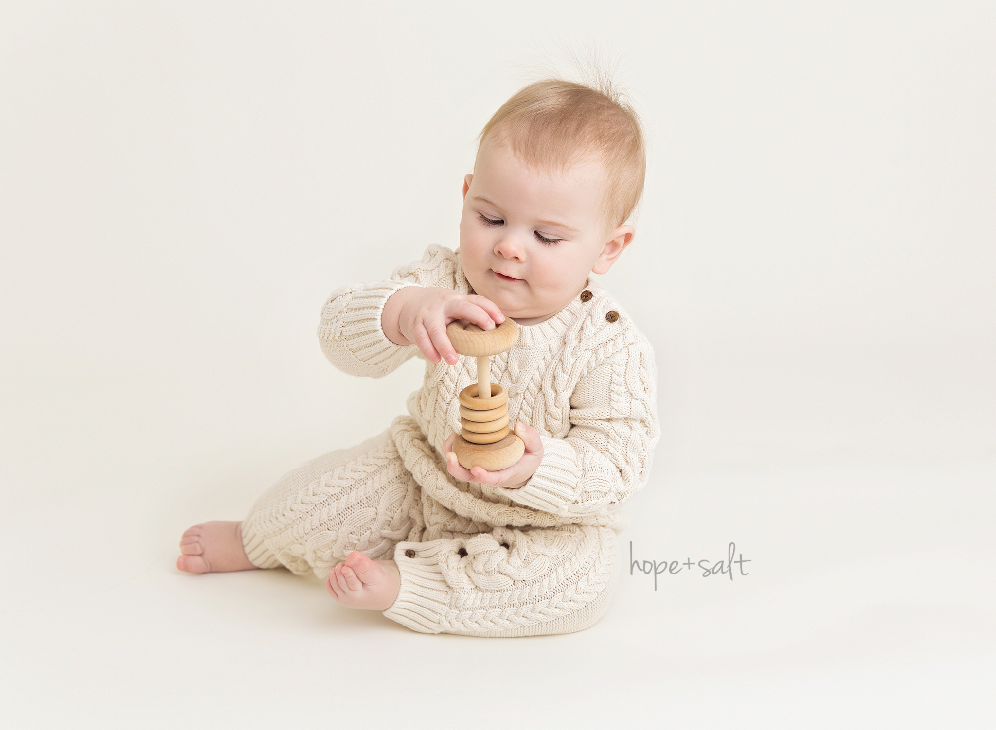 Waterdown baby photographer - a first birthday sitter session for one year old boy Everett in a neutral white, simple pure style by Hope + Salt Photography