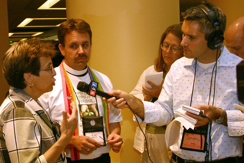 Members of Good Soil are interviewed by outside Media after the Assembly considered recommendation three concerning the ordination of people in committed same-sex unions. The recommendation failed.