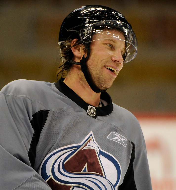 . Peter Forsberg skated Pepsi Center January 22, 2011 only as a test as he tries to make a comeback to the NHL.  Forsberg skated a bout 45 minutes with with Ryan O\'Reilly and assistant coach Steve Konowalchuk.  John Leyba, The Denver Post