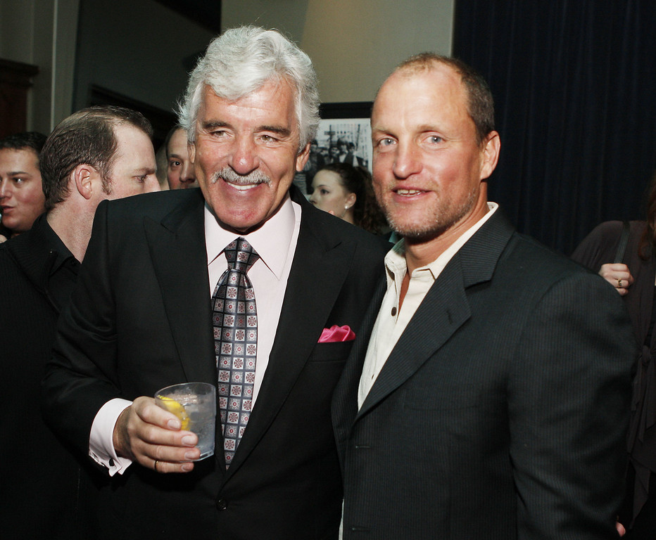 """. Actors Dennis Farina (L) and Woody Harrelson pose at the afterparty for the premiere of Anchor Bay\'s \""""The Grand\"""" at the Cabana Club on March 5, 2008 in Los Angeles, California. (Photo by Kevin Winter/Getty Images)"""