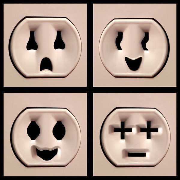 2011/12/21 – Have you ever been sitting there feeling like someone is watching you? Well that's exactly what I was doing when I noticed the plug socket on the wall. Have you noticed they look like little faces? I snapped a shot of the socket and then had a little fun in Photoshop to create this series of four different faces. Your plugs might not be this animated.