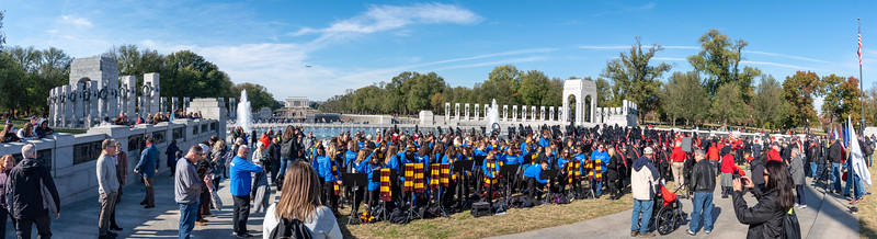 Gathering at the WWII Memorial for the second portion of the program