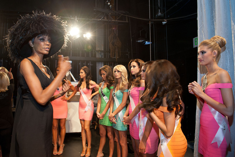 . This photo provided by the Miss Universe Organization,  Miss Maine USA 2013, Ali Clair; Miss Louisiana USA 2013, Kristen Girault; Miss Kentucky USA 2013, Allie Leggett; Miss Kansas USA 2013, Staci Klinginsmith; Miss Mississippi USA 2013, Paromita Mitra; and Miss Minnesota USA 2013, Danielle Hooper; are coached by Lu Sierra prior to the 2013 Miss USA Competition Preliminary Show  in Las Vegas  on Wednesday June 12, 2013.  She will compete for the title of Miss USA 2013 and the coveted Miss USA Diamond Nexus Crown on June 16, 2013.  (AP Photo/Miss Universe Organization, Valerie Macon)