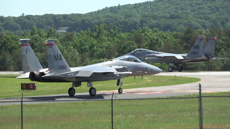 6-3-18...Drill Sunday...two more hot pit refueling F-15s heading out...shot from lumberyard mound...was leaving so late on mound