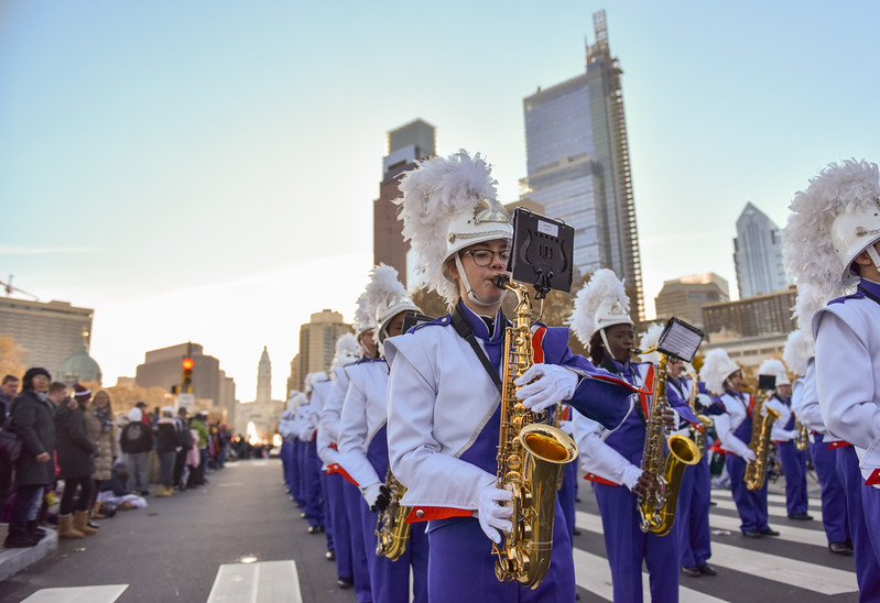 Senior Sarah Tatum of the West Orange High School Marching Band performs in the 98th Annual Thanksgiving Day Parade. 11/23/17 Credit Thomas Lightbody