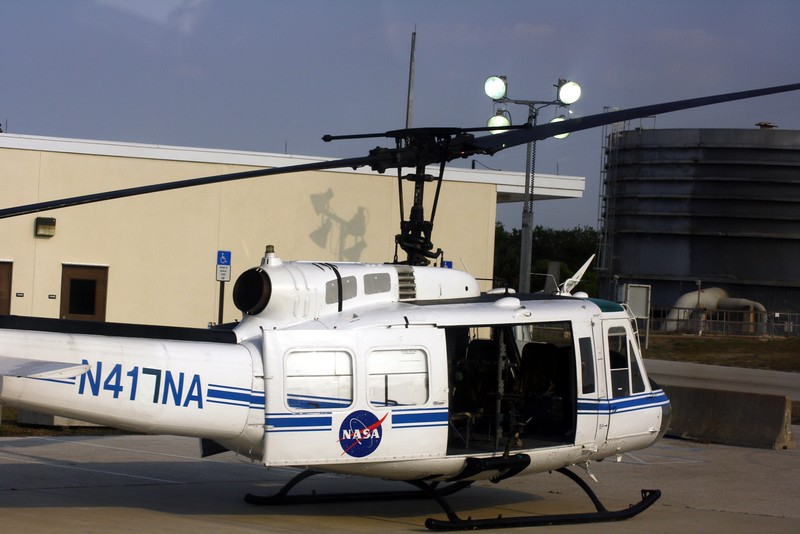 NASA contractor Space Gateway Support uses this helicopter with mounted machine guns to protect the movement of equipment and personnel.