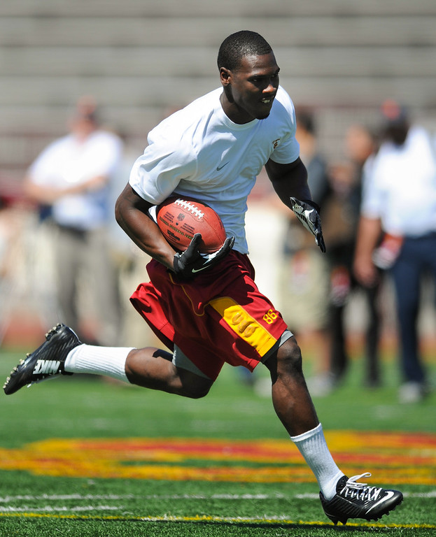 . Marqise Lee runs upfield after a pass reception at USC Pro Day, Wednesday, March 12, 2014, at USC. (Photo by Michael Owen Baker/L.A. Daily News)