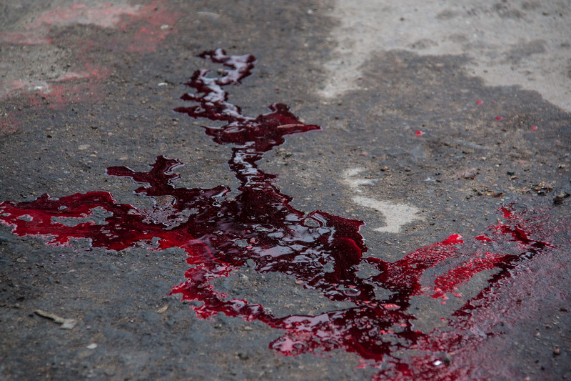 Seal blood on the jetty