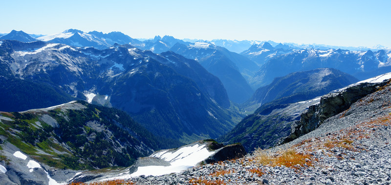 Views from the summit. The obvious valley close in is Pass Creek. This is looking into NCNP.