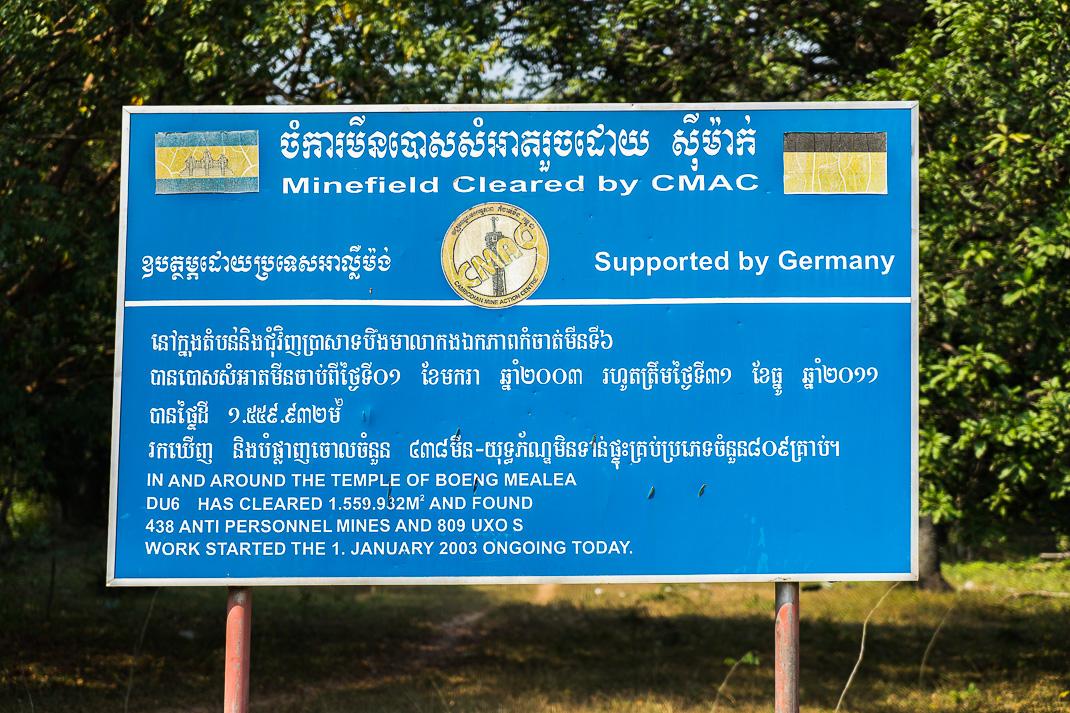 Beng Mealea Landmine Sign