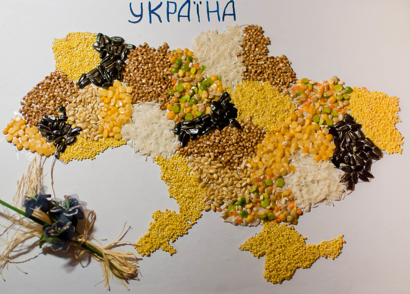 Map of Ukraine, made of grains