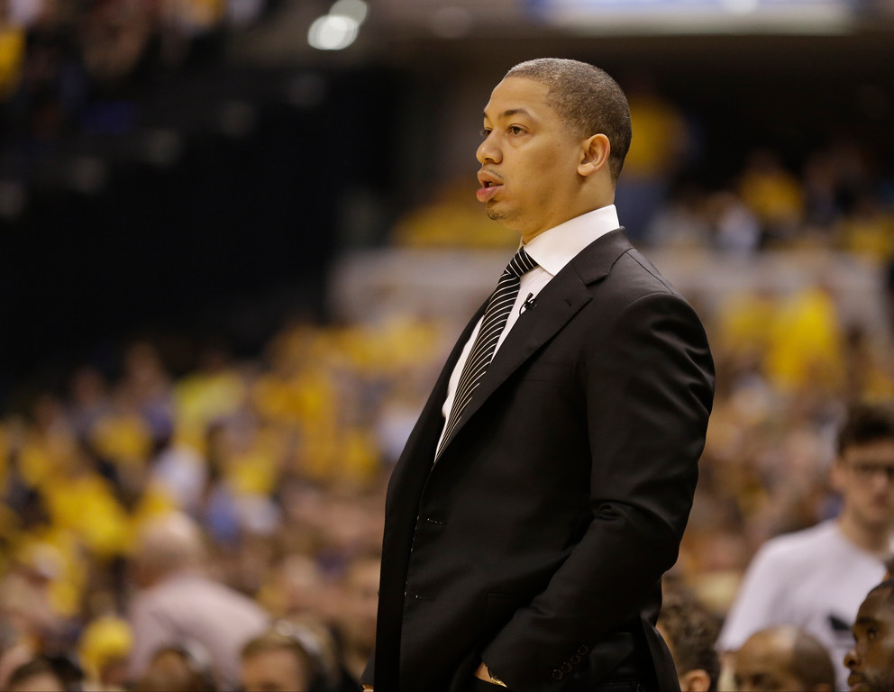 . Cleveland Cavaliers head coach Tyronn Lue watches during the first half in Game 3 of a first-round NBA basketball playoff series against the Indiana Pacers, Thursday, April 20, 2017, in Indianapolis. (AP Photo/Michael Conroy)