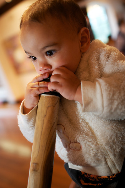 One-year-old Indigenous Australian playing a Didgeridoo