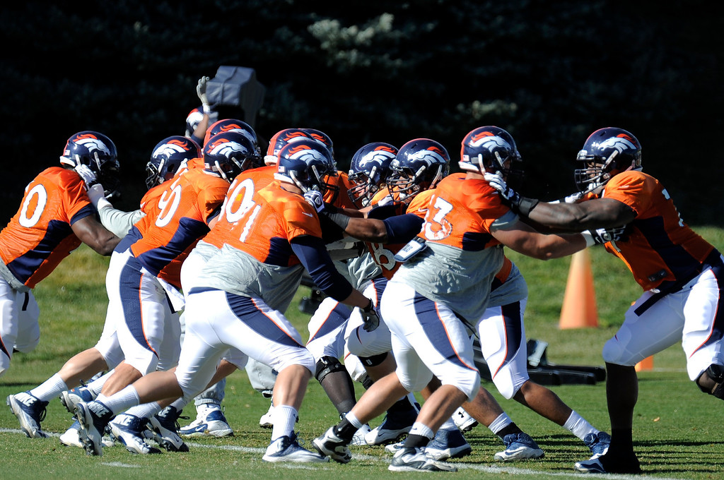 . Denver Broncos offensive line gets in some reps during practice November 13, 2013 at Dove Valley (Photo by John Leyba/The Denver Post)