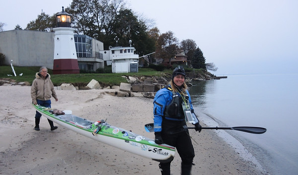 November 1, 2017, Traci Lynn Martin, pursuing Kayaking records on the Great Lakes,  paddles on to Cleveland..from Vermilion.
