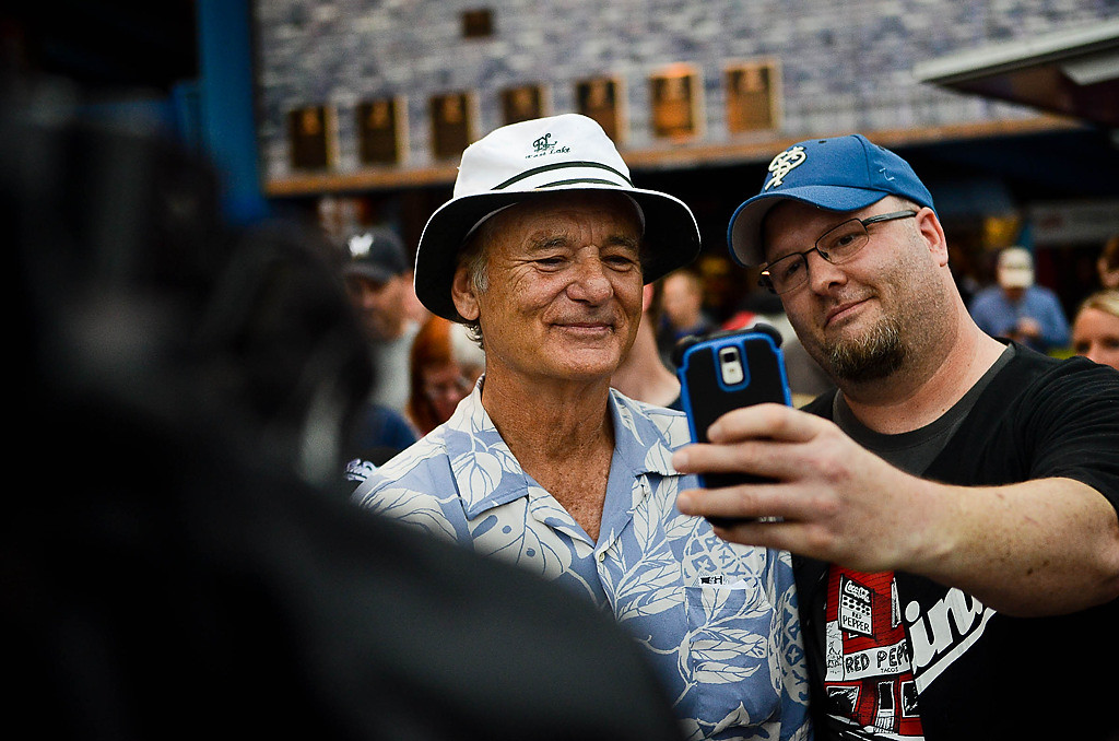 . Bill Murray takes tickets and selfies before the game. (Pioneer Press: Ben Garvin)