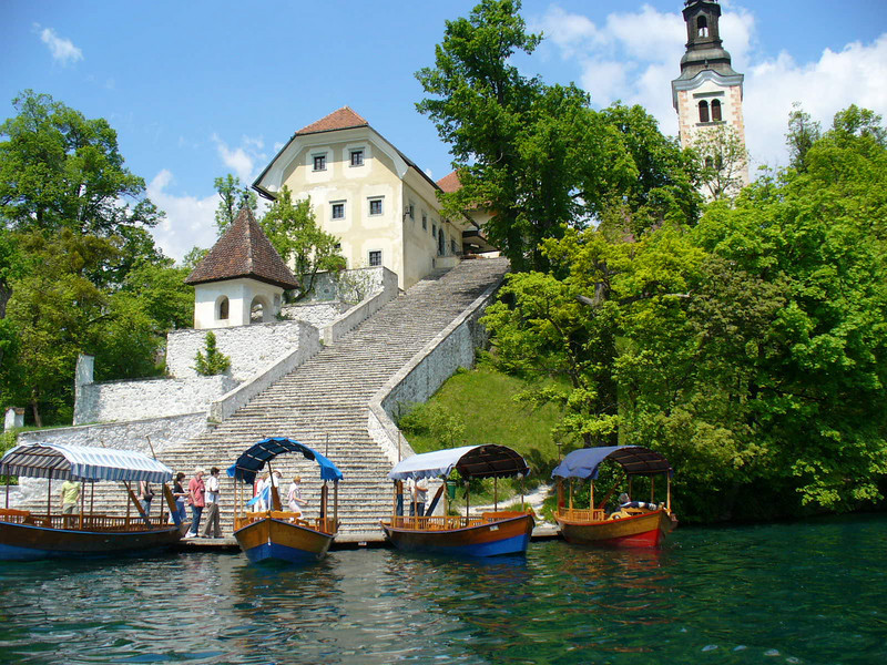 Our approach to the island on Lake Bled.
