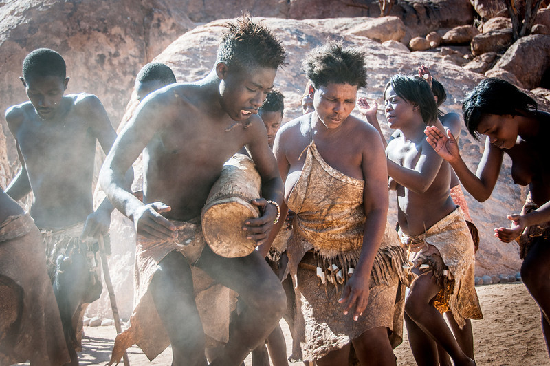Locals playing music in Namibia