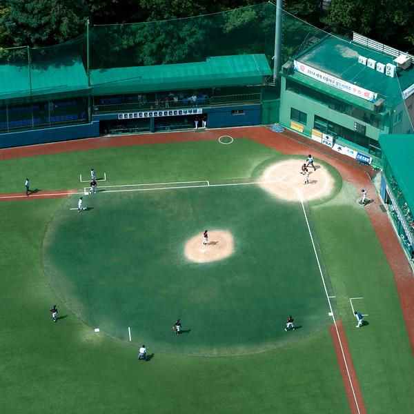 High angle view of baseball stadium seen from Shilla Hotel, Seoul, South Korea