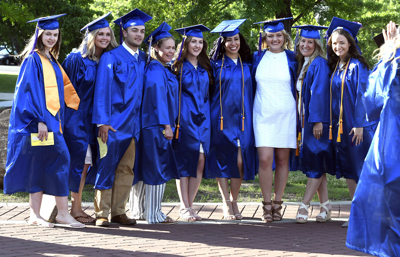5/30/2018 Mike Orazzi | Staff Tunxis Community College graduates gather during Wednesday night's commencement held at CCSU in New Britain.