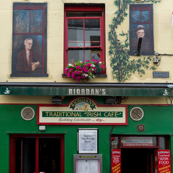 Fa�ade of Irish cafe, Galway City, County Galway, Ireland