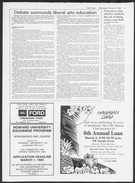 Daily Trojan, Vol. 98, No. 32, February 27, 1985