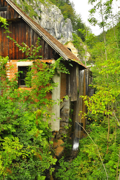 quiet sawmill scene off the trail in Italy