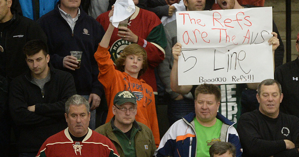 . A few Wild fans are not fond of the referees during the third period.  (Pioneer Press: Sherri LaRose-Chiglo)