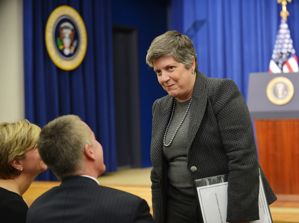 . Homeland Security Secretary Janet Napolitano speaks to guests before the start of an event where US President Barack Obama spoke on proposals to reduce gun violence on January 16, 2013 in the South Court Auditorium of the Eisenhower Executive Office Building, next to the White House in Washington, DC. AFP PHOTO/Mandel  NGAN/AFP/Getty Images