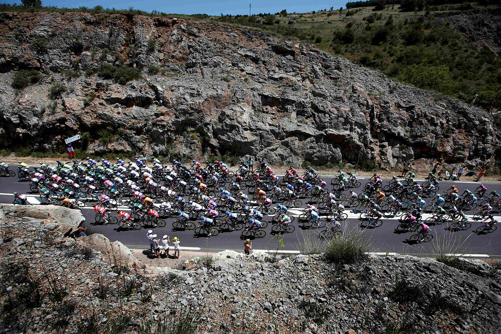 . The pack of riders cycles on its way during the 205.5 km seventh stage of the centenary Tour de France cycling race from Montpellier to Albi July 5, 2013.    REUTERS/Eric Gaillard