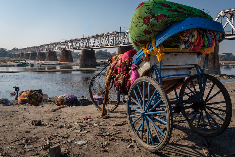 Washing clothes at a river. Agra, India