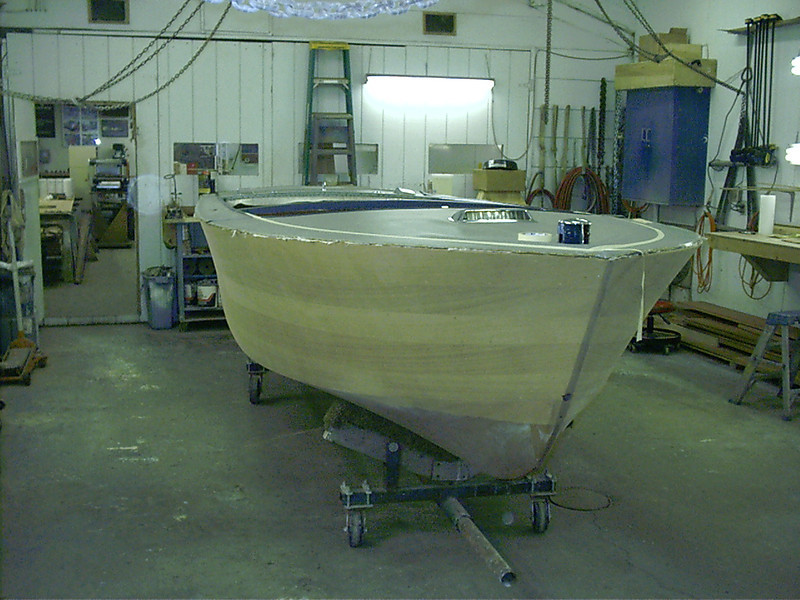 Front starboard view of boat right side up.