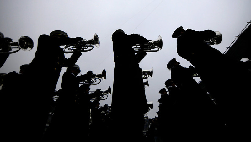 . The Navy band plays before an NCAA college football game against Army, Saturday, Dec. 8, 2012, in Philadelphia. (AP Photo/Matt Slocum)