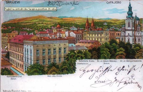 Pogled na centralni dio Sarajeva početkom 20. vijeka