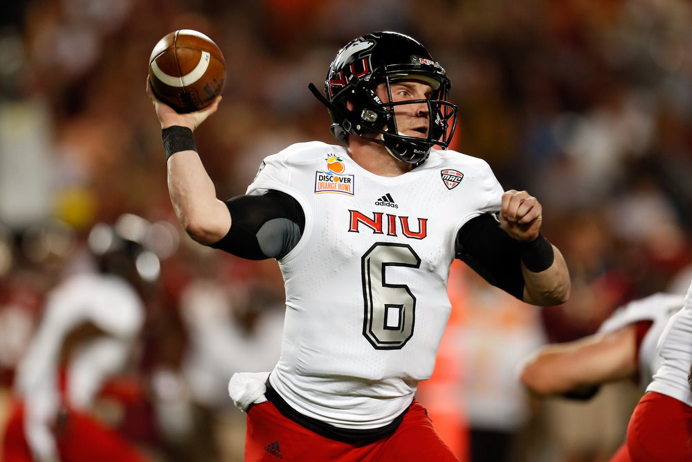Description of . Jordan Lynch #6 of the Northern Illinois Huskies throws a pass in the first half against the Florida State Seminoles during the Discover Orange Bowl at Sun Life Stadium on January 1, 2013 in Miami Gardens, Florida.  (Photo by Chris Trotman/Getty Images)