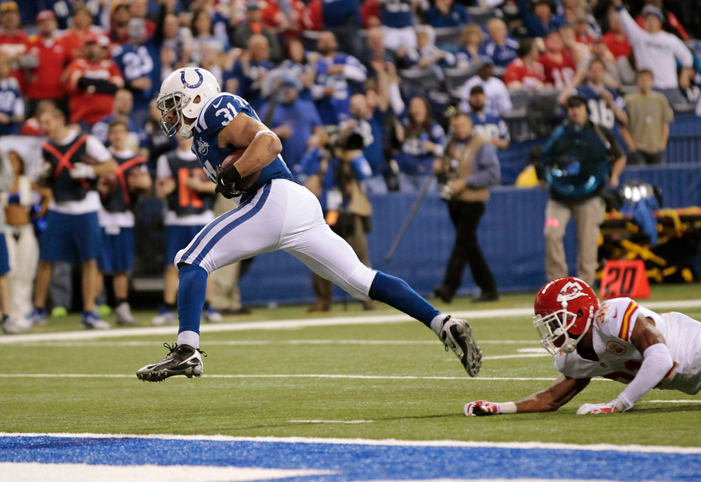 . Indianapolis Colts\' Donald Brown (31) runs three-yards for a touchdown against the Kansas City Chiefs during the second half of an NFL wild-card playoff football game Saturday, Jan. 4, 2014, in Indianapolis. (AP Photo/AJ Mast)