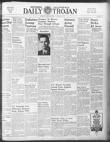 Daily Trojan, Vol. 30, No. 40, November 14, 1938