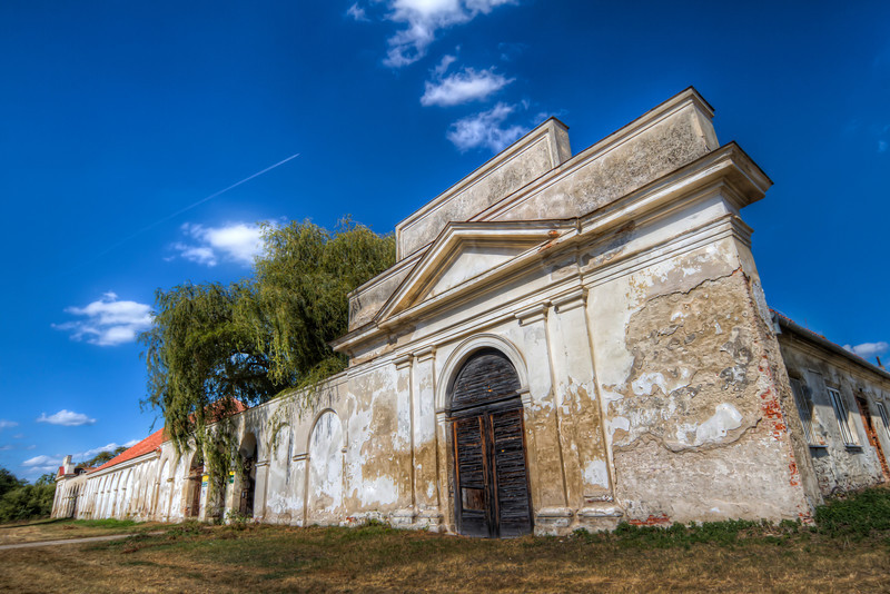 New Court  This is one of the buildings in the Lednice area, in Czech Republic. This used to be stables, for a nearby chateau. Too bad, it's not open to the public, and is fenced off from the best looking side. So I took at-lest few photos from the front.  HDR from three shots, taken with Canon 7D with Sigma 10-20mm lens, from a tripod.