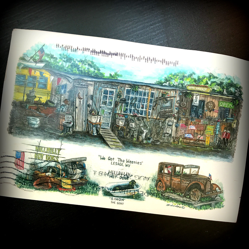 hillbilly hotdogs postcard