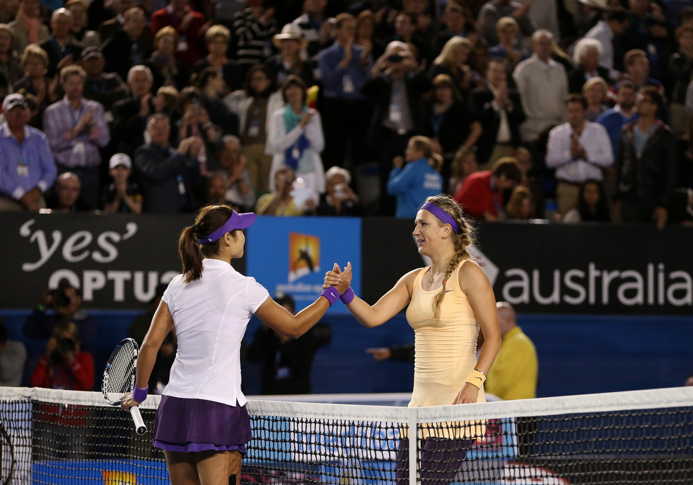 . Victoria Azarenka, right, of Belarus is congratulated by China\'s Li Na after winning the women\'s final at the Australian Open tennis championship in Melbourne, Australia, Saturday, Jan. 26, 2013.  (AP Photo/Greg Baker)