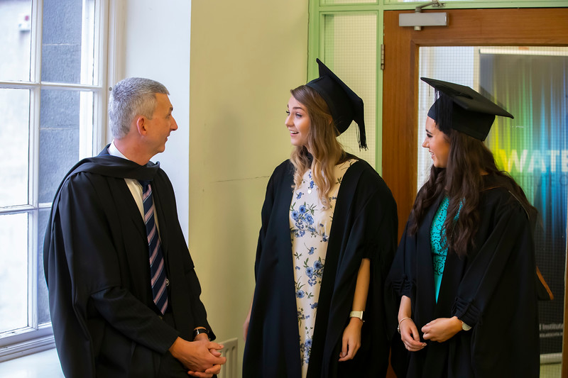 31/10/2019. Waterford Institute of Technology (WIT) Conferring Ceremonies are Sally Foskin, Waterford, Niamh O'Dwyer Borris, Angelo Hurley Tramore, Aine Davin-Murphy Clonmel. Picture: Patrick Browne