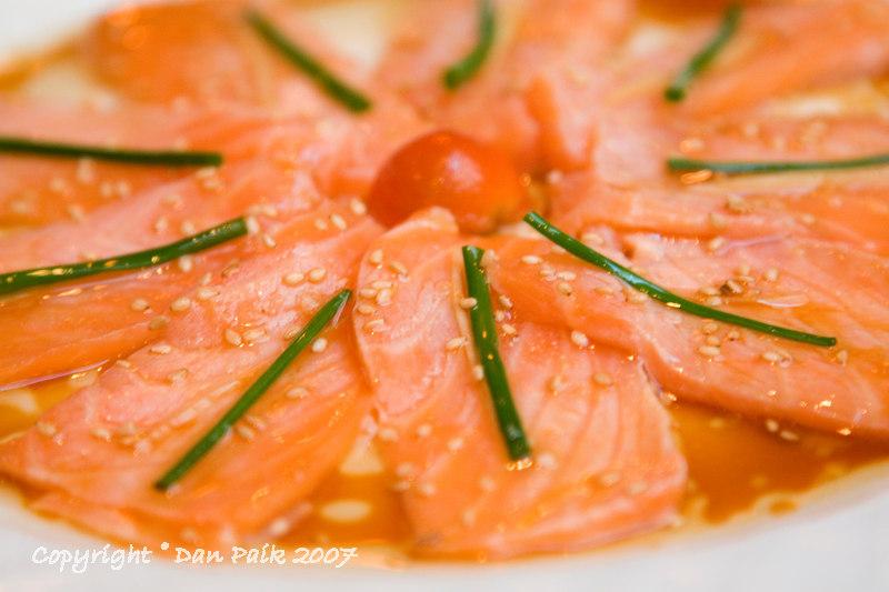 new style sashimi with salmon