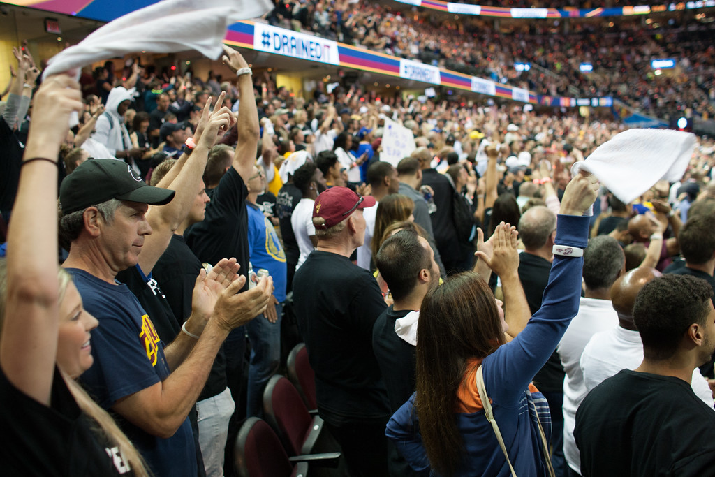 . Cavaliers fans celebrate during game 4 of the NBA Finals against the Golden State Warriors at the Quicken Loans Arena on June 10, 2017.  The Cavs defeated the Warriors 137-116.