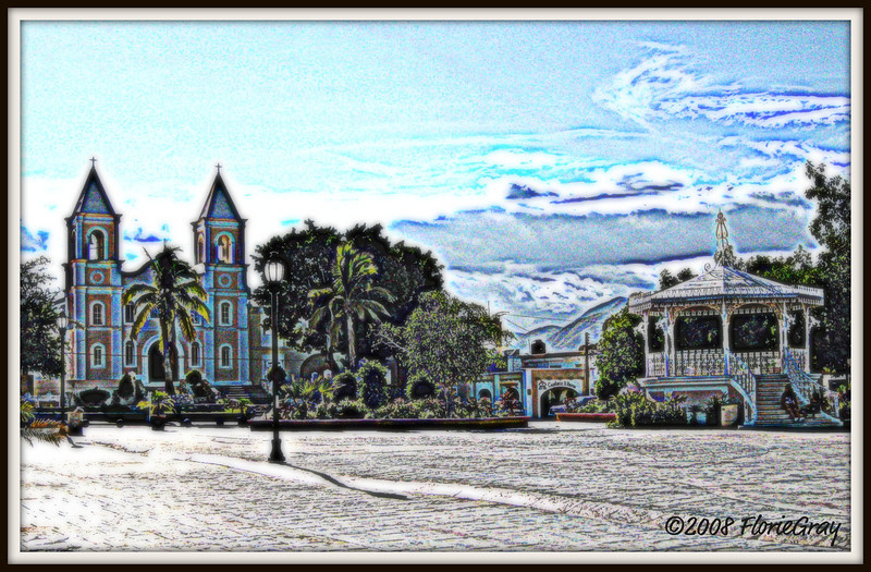 Church and Bandstand; Town Square, San Jose del Cabo, Mexico     Copyright © Florence T. Gray. This image is protected under International Copyright laws and may not be downloaded, reproduced, copied, transmitted or manipulated without written permission.