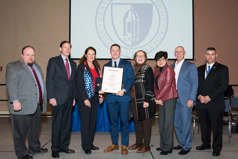 11/12/18  Wesley Bunnell | Staff  CCSU held a Veterans Day Observance on Monday afternoon in Alumni Hall which featured honoring three local veterans. Rep Rick Lopes, Senator Richard Blumenthal, Congresswoman Elizabeth Esty, Honoree Joshua Barnett, State Senator Terry Gerratana, CCSU President Zulma Toro, CSCU President Mark Ojakian and CCSU veterans coordinator Chris Gutierrez.